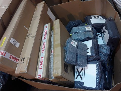BOX OF APPROXIMATELY 20 ASSORTED ITEMS TO INCLUDE: MULTIPLE PACKS OF GREY PLASTIC EDGING BORDERS, WALL CLOCKS ETC