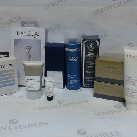 LOT OF APPROXIMATELY 10 ASSORTED SKIN CARE ITEMS, TO INCLUDE FLAMINGO, LANCOME, PYUNKANG YUL, ETC