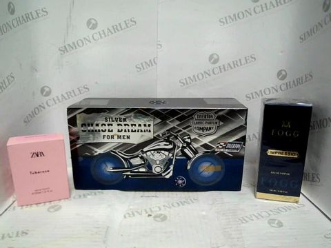 LOT OF APPROXIMATELY 32 ASSORTED FRAGRANCES TO INCLUDE: ZARA TUBEROSE EDT, SILVER CHASE DREAM FOR MEN, FOGG SCENT IMPRESSIO EDP, ETC