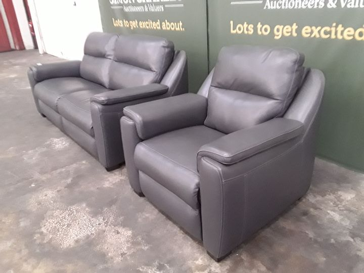 QUALITY ITALIAN GREY LEATHER UPHOLSTERED THREE SEATER SOFA AND ARMCHAIR