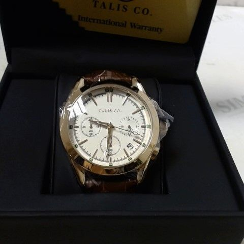 DESIGNER MEN'S TALIS CO ROSE GOLD COLOURED CROWN DATE DIAL LEATHER STRAP WRISTWATCH