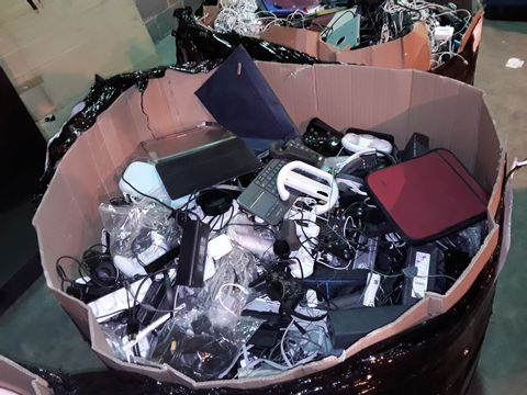 PALLET OF ASSORTED ITEMS TO INCLUDE: CABLES, POWER LEADS, CONTROLLERS, CONSOLE ACCESSORIES, CASES ETC