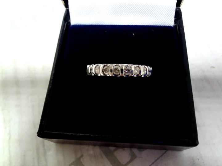 9CT WHITE GOLD 50 POINT DIAMOND BAR SET RING