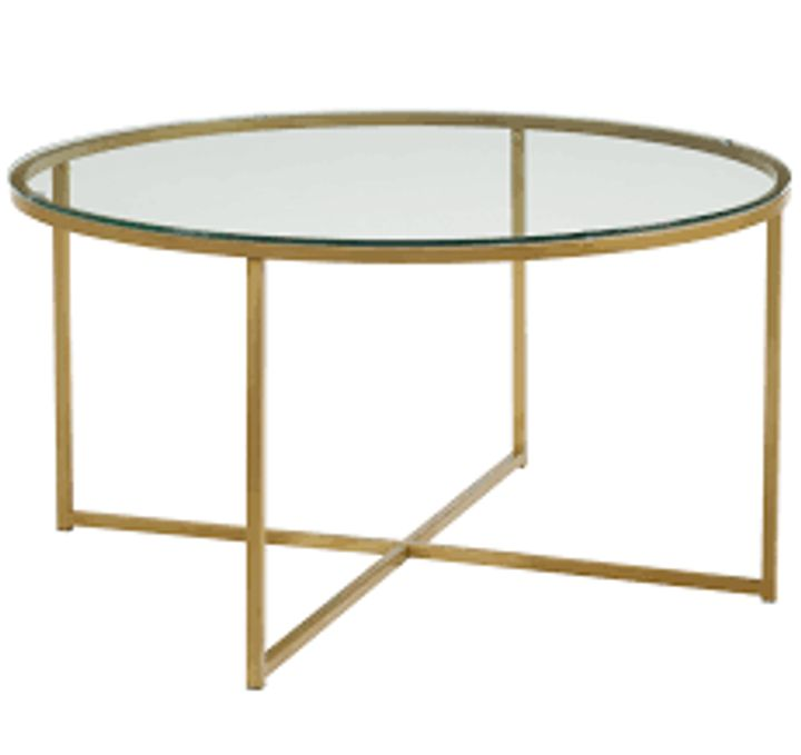 BOXED LEVERETTE COFFEE TABLE- GLASS/GOLD (1 BOX)