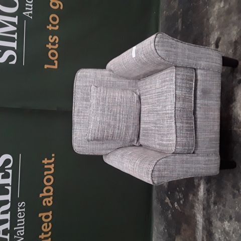 QUALITY BEIGE FABRIC ARMCHAIR WITH BOLSTER CUSHION