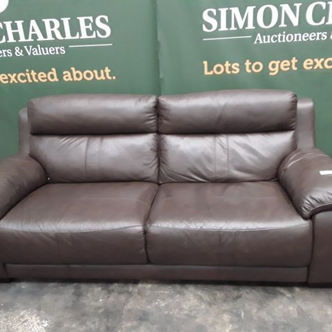 QUALITY BROWN FAUX LEATHER THREE SEATER SOFA