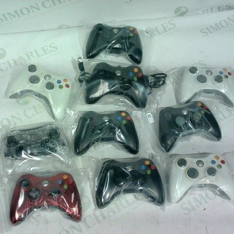 LOT OF 10 ASSORTED XBOX 360 CONTROLLERS