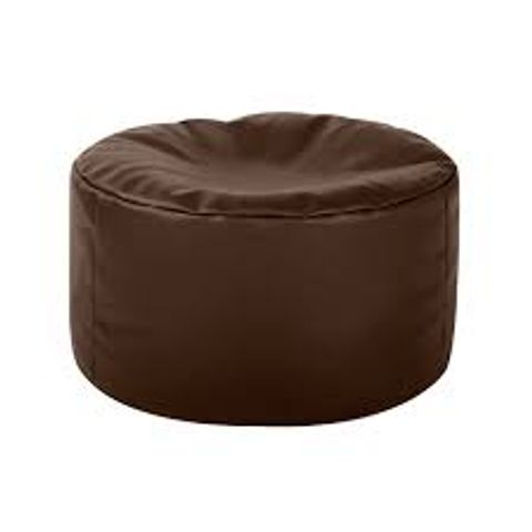 BOXED DELANEY POUFFE - BROWN UPHOLSTERY