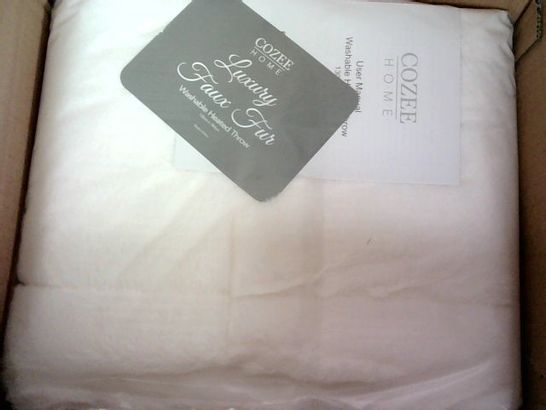 COZEE HOME LUXURY FAUX FUR HEATED THROW - IVORY
