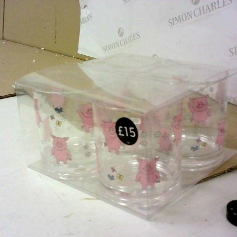PLASTIC PIG CUPS SET OF 4