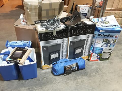 PALLET OF ASSORTED OUTDOOR AND CAMPING ITEMS TO INCLUDE LPG CABINET HEATERS, EUROHIKE DOME TENTS NORTH FACE SHOES AND BASE CAMP STORAGE TABLES