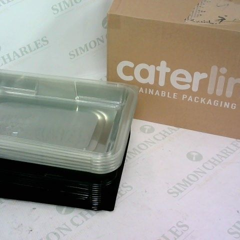 LOT OF CATERING TRAYS WITH CLEAR LIDS, SIZE MEDIUM SET OF APPROX 15 AND FLAT PACKED STURDY BOXES WITH MAGNETIC CLOSING SIZE 35CM X 35CM X 15CM APPROX 12 IN THE BOX