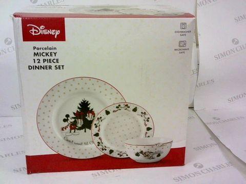 BOXED DISNEY POCELAIN MICKEY 12 PIECE DINNER SET