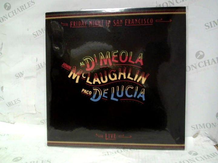 "AL DI MEOLA, JOHN MCLAUGHLIN & PACO DE LUCIA FRIDAY NIGHT IN SAN FRANCISCO LIVE 12"" VINYL ALBUM"
