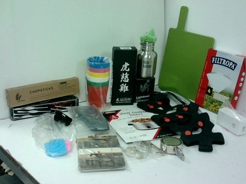 SMALL BOX OF ASSORTED HOMEWARE ITEMS TO INCLUDE WUSAKI WHET STONES, SKY REMOTE, KANTEEN FLASK