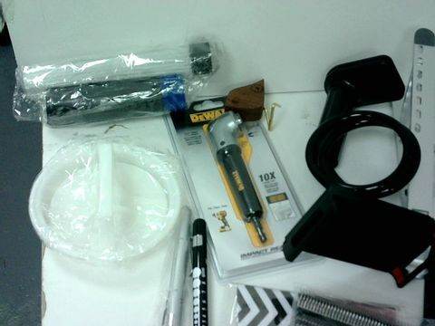SMALL BOX OF ASSORTED HOMEWARE ITEMS TO INCLUDE LAPTOP/ TABLET STAND, SERVICE BELL, ADJUSTABLE PHONE MOUNT, COMMAND STRIPS