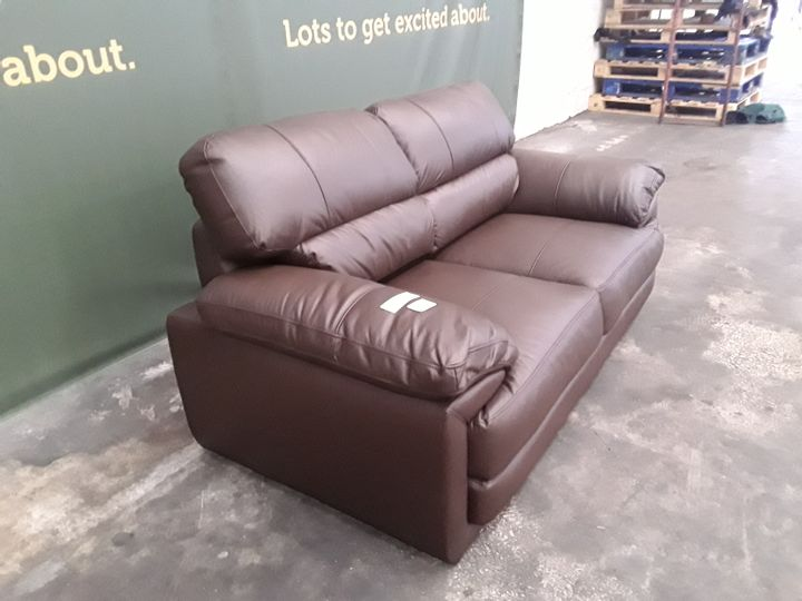 DESIGNER BROWN FAUX LEATHER TWO SEATER SOFA