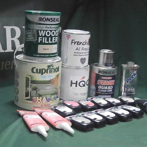 LOT OF ASSORTED HOME LIQUIDS TO INCLUDE DULUX PAINT TESTS, PEEK METAL POLISH, RONSEAL STAIN GUARD CLEAR COAT