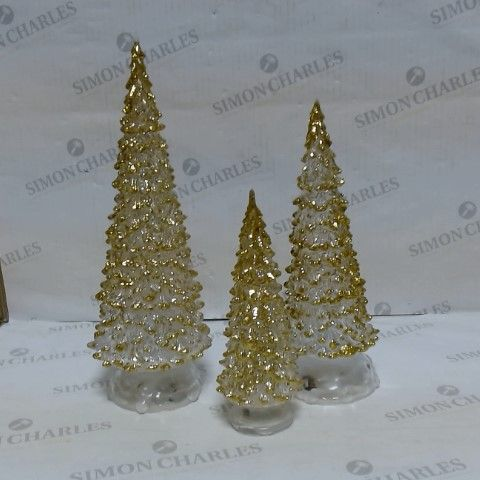 LOT OF APPROXIMATELY 12 LIGHT-UP GOLD CHRISTMAS TREE 3PC SETS