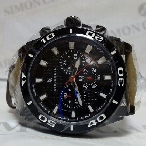 DESIGNER STOCKWELL LEATHER STRAP BLACK FACE CHRONOGRAPH STYLE SPORTS WRISTWATCH
