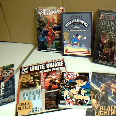 ASSORTMENT OF 7 BOOKS/COMICS INCLUDING THE TRIGAN EMPIRE, THE AVENGERS NO SURRENDER AND DEMON SLAYER