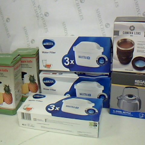 LOT OF 7 ASSORTED COOKWARE ITEMS TO INCLUDE REGATTA STEEL KETTLE, CAMERA LENS MUG AND BRITA FILTERS