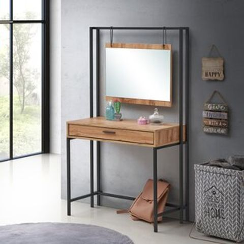 BOXED GOGUEN BLACK DRESSING TABLE WITH MIRROR (3 BOXES)