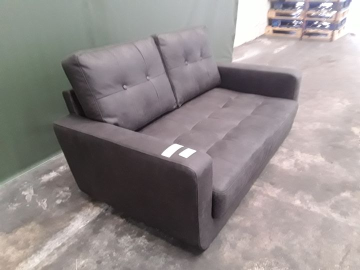 DESIGNER DARK GREY FAUX LEATHER COMPACT TWO SEATER SOFA