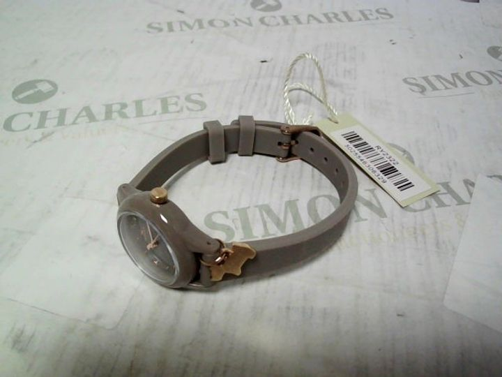 RADLEY WATCH IT! GREY DIAL DOG CHARM SILICONE STRAP WATCH