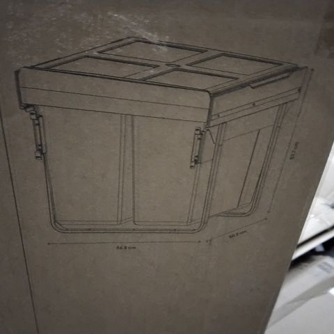BOXED GOODHOME VIGOTE 60CM INTERNAL DOOR MOUNTED BIN- 2 COMPARTMENTS 2 X 46L