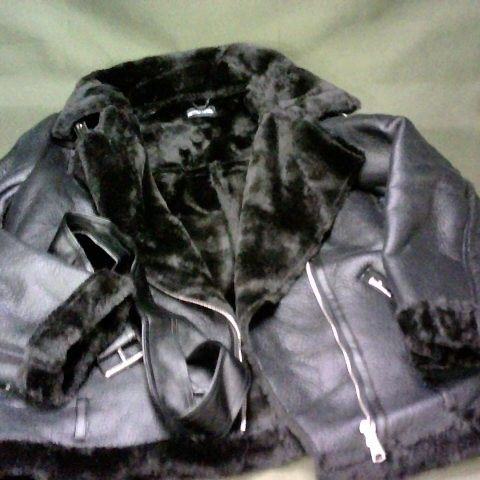 PRETTYLITTLETHING FAUX LEATHER COAT WITH FUR TRIM  - UK 16