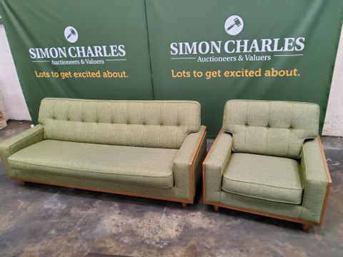 QUALITY G PLAN VINTAGE MARL GREEN FABRIC LOUNGE SUITE, COMPRISING LARGE SOFA & EASY CHAIR