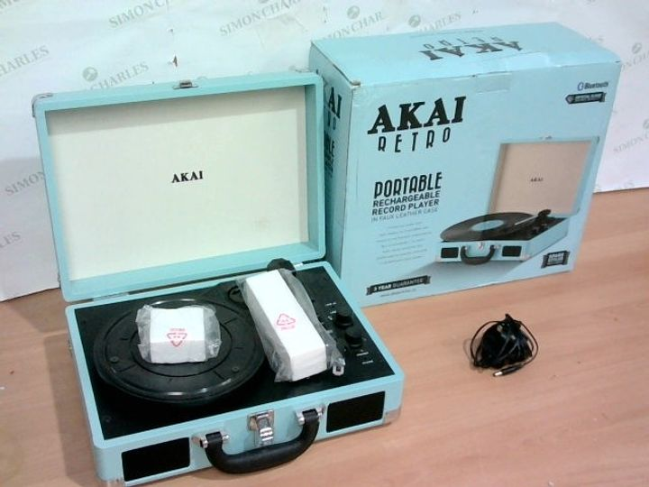 AKAI RETRO PORTABLE RECHARGEABLE RECORD PLAYER