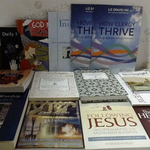 LOT OF APPROXIMATELY 36 ASSORTED THEOLOGICLA, RELIGIOUS AND SPIRITUAL BOOKS