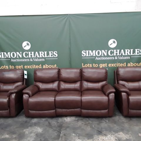 QUALITY BROWN FAUX LEATHER POWER RECLINING THREE SEATER SOFA AND PAIR OF POWER RECLINING ARMCHAIRS