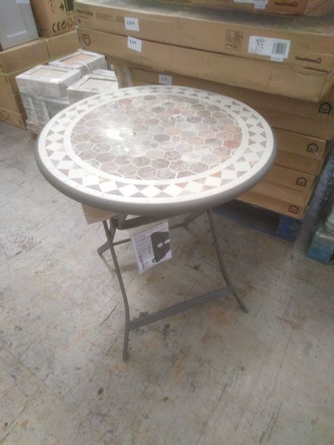 BOXED GOOD HOME KYTHROS STEEL TABLE WITH MOSAIC EFFECT