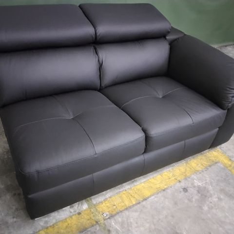 ITALIAN STYLE BLACK LEATHER SOFA SECTION WITH ADJUSTABLE HEADRESTS