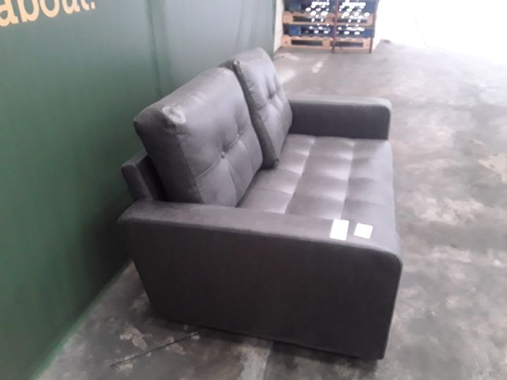 DESIGNER GREY FAUX LEATHER COMPACT TWO SEATER SOFA