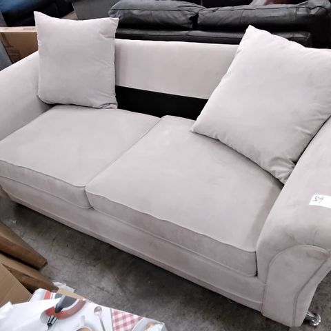 DESIGNER NATURAL FABRIC THREE SEATER SOFA WITH SCATTER CUSHIONS