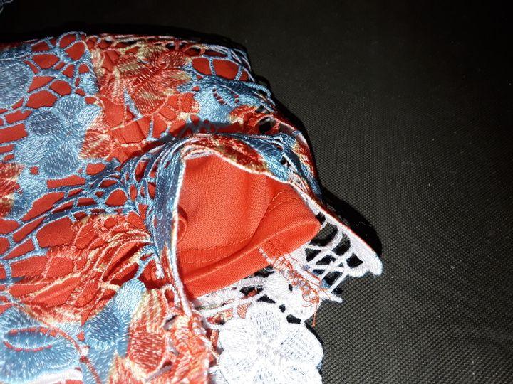 PAPER DOLLS AQUA FLUTED DRESS IN ORANGE/WHITE - UK 14