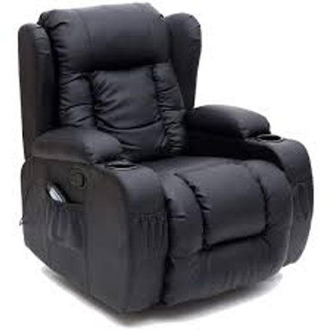 BOXED DESIGNER CAESAR BLACK FAUX LEATHER RECLINING EASY CHAIR  (2 BOXES)