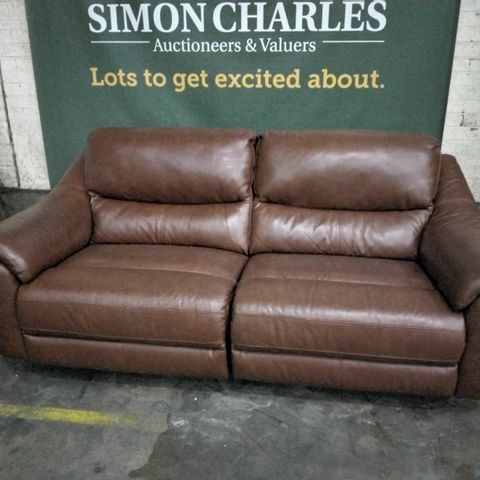 DESIGNER FRANCIS BUTTERSCOTCH LEATHER POWER RECLINING THREE SEATER SOFA