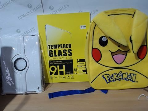 MEDIUM LOT OF ASSORTED HOUSEHOLD ITEMS TO INCLUDE: POKEMON (PIKACHU) BAG, IPAD COVERS, TEMPERED GLASS SCREEN PROTECTOR FOR IPAD ETC