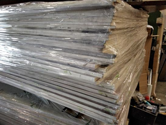 PALLET OF APPROXIMATELY 40 TIMBOPLAST WALL BOARDS APPROX SIZE 8' × 4' 8 & 16mm thick