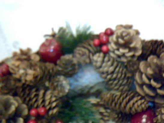 PREMIUM QUALITY CHRISTMAS HANGING WREATH 48CM - FESTIVE PINE CONE DISPLAY WITH RED BERRIES