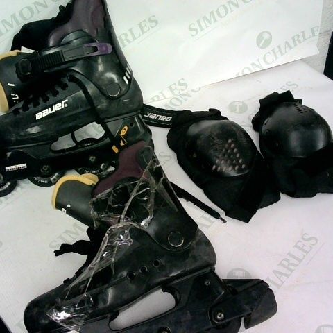 USED BAUER INLINE ROLLER SKATES AND KNEE PADS