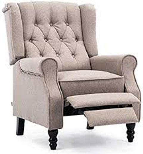 BOXED ALTHORPE PUMICE LINEN PUSHBACK RECLINING EASY CHAIR (1 BOX)