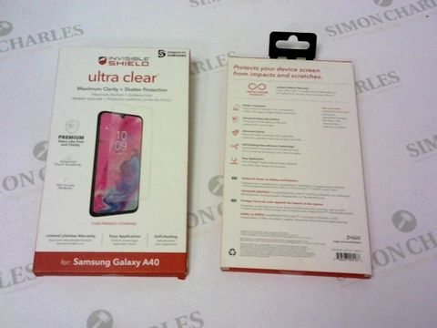 A BRAND NEW BOX OF APPROXIMATELY 25 INVISIBLE SHIELD ULTRA CLEAR FOR SAMSUNG GALAXY A40