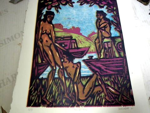 """SERVADIO - """"THE BATHERS"""". REDUCTION WOODCUT A3, 2/5"""