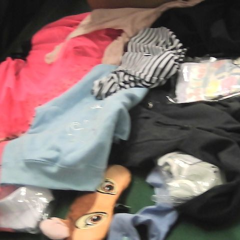 BOX OF ASSORTED GIRLS CLOTHING TO INCLUDE SCHOOL SHIRTS, EYE MASK, PINK TUTU